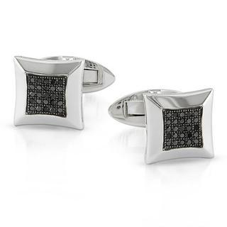 Sterling Silver 1/4ct TDW Black Diamond Cuff Links