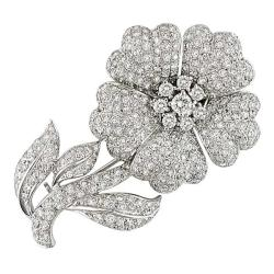 Miadora 18k White Gold 7ct TDW Diamond Flower Brooch (G-H, SI1-SI2)