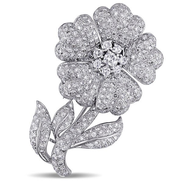 Miadora Signature Collection 18k White Gold 7ct TDW Diamond Flower Brooch (G-H, SI1-SI2)