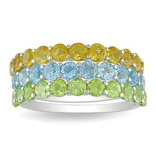 Miadora Stackable Sterling Silver Peridot, Citrine, and Blue Topaz 3-piece Ring Set