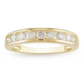 Miadora 14k Yellow Gold 3/4ct TDW Diamond Anniversary Ring (H-I, I2-I3) with Bonus Earrings