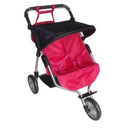 Doll Twin Pink and Black Jogging Stroller