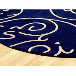 Hand-tufted Blue Archer Round Wool Rug (6' Round)