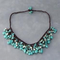 Cotton Clusters Teardrop Turquoise/ Pearl Necklace (5-7 mm) (Thailand)