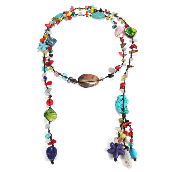 Cotton Wax Turquoise and Mother of Pearl Wrap Necklace (Thailand)