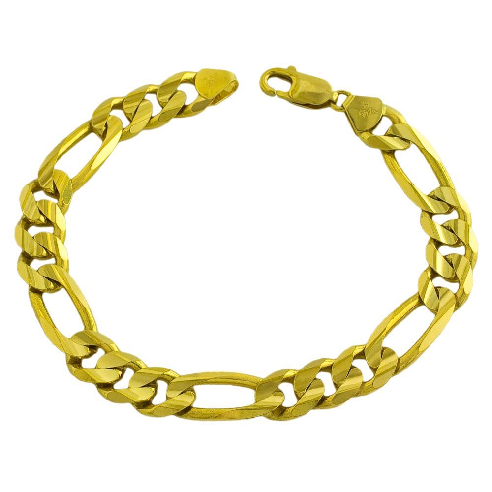 Fremada 14k Yellow Gold Men's Solid 8.5-inch Figaro Bracelet
