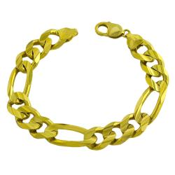Fremada 14k Yellow Gold Men's Solid Figaro Bracelet (9-inch)