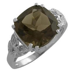 Sterling Silver Smokey Cushion-cut Quartz and Cubic Zirconia Ring