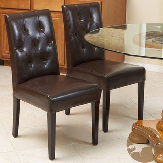 Christopher Knight Home Gentry Bonded Leather Brown Dining Chair (Set of 2)