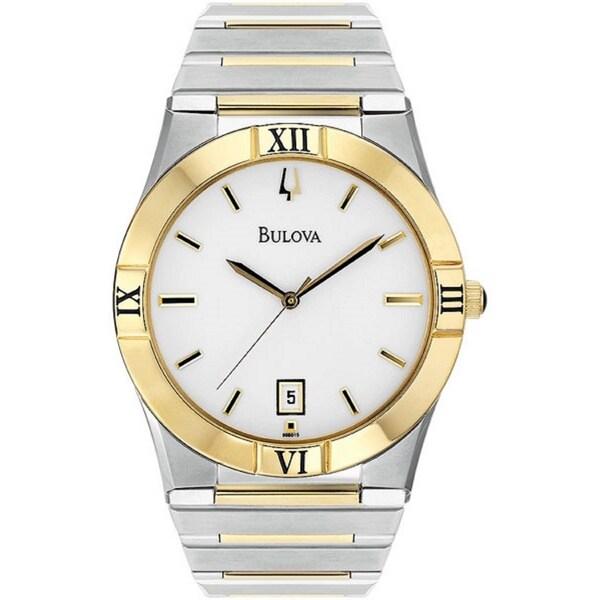 Bulova Men's 'Bracelet' Two-tone Stainless Steel Quartz Watch