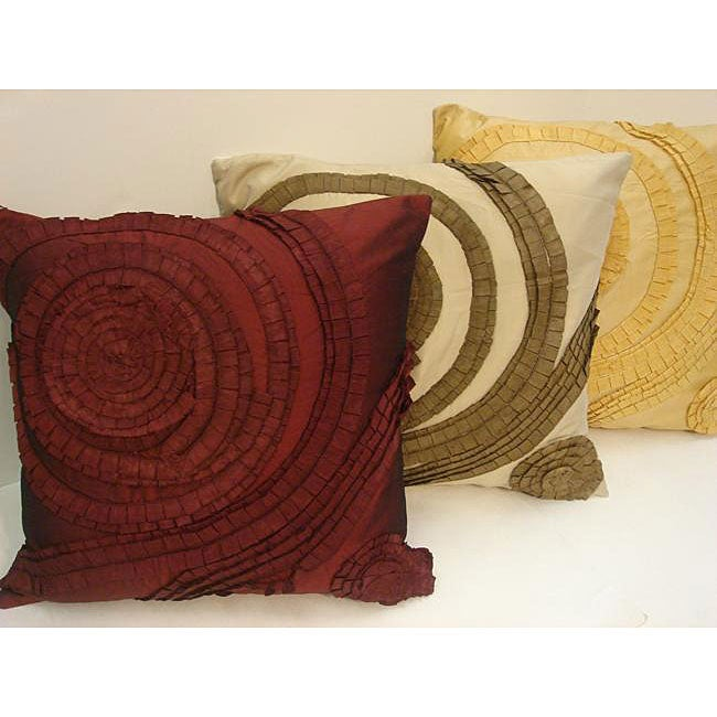 Sherry Kline 20-inch Feather and Down Filled Pleated Swirl Tafetta Pillow