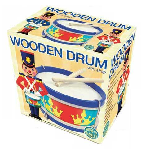 House of Marbles Adjustable-head Wooden Drum with Drumsticks