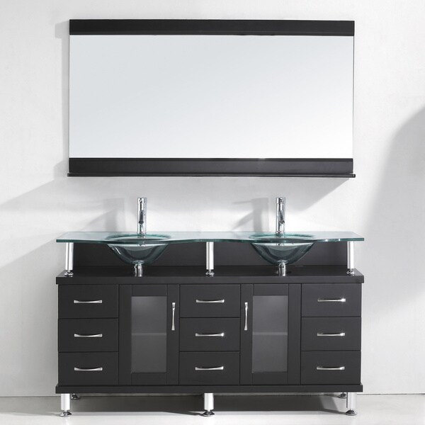 Virtu USA Vincente Rocco 59-inch Double Sink Bathroom Vanity Set