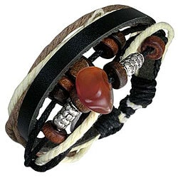 Leather and Wood 'Red Sun' Bracelet