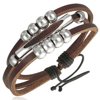 Genuine Leather 'Beads of Fortune' Bracelet