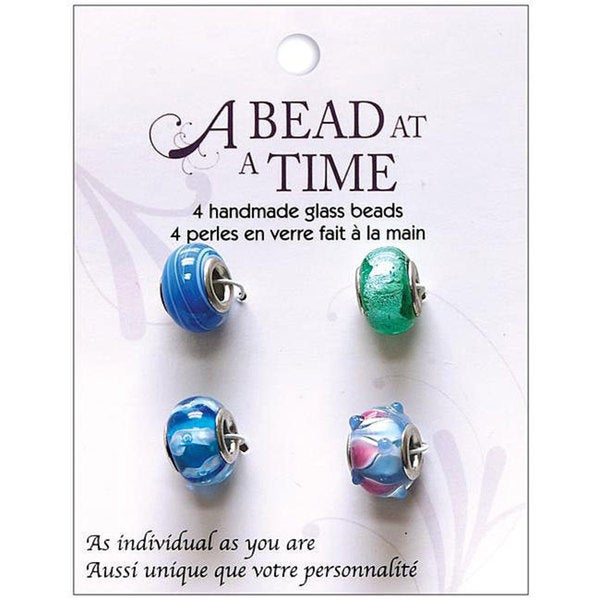 A Bead at a Time Turquoise Handmade Glass Bead Value Pack (Pack of 4)