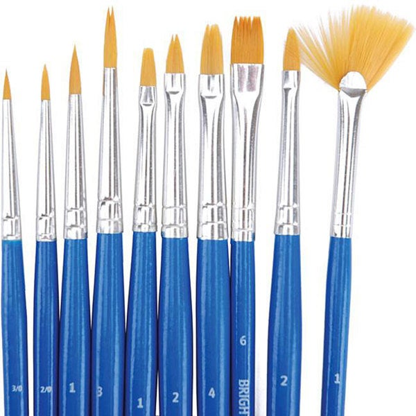 Golden Synthetic Brush Set (Pack of 10)