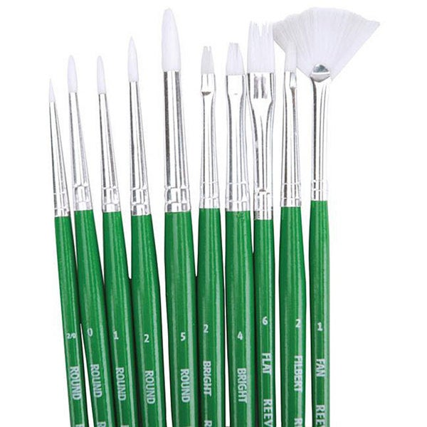 White Synthetic Paint Brush Set (Pack of 10)