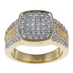 La Preciosa Gold over Silver Square Cubic Zirconia Ring