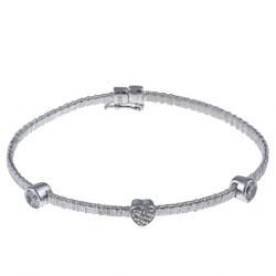 La Preciosa Sterling Silver Mesh Cubic Zirconia Heart and Circles Bracelet