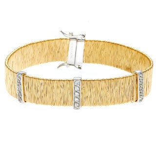 La Preciosa Gold over Silver Cubic Zirconia Mesh Bracelet
