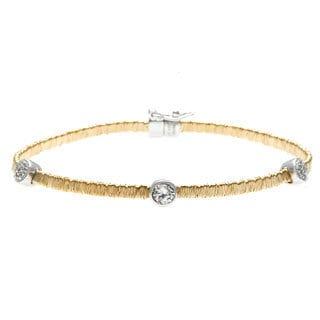 La Preciosa Gold over Silver Cubic Zirconia Threaded Mesh Bracelet