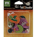 Toil & Trouble Halloween Scrapbooking Glitter Chip Buttons
