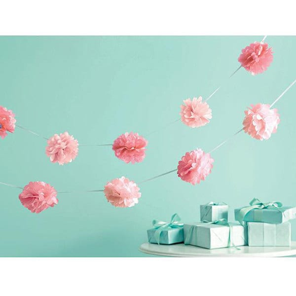Martha Stewart Celebrate Decor 6-foot Pink Pom Pom Garlands