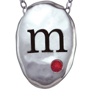 Chroma Sterling Silver Created Garnet Initial Necklace Made with SWAROVSKI GEMS