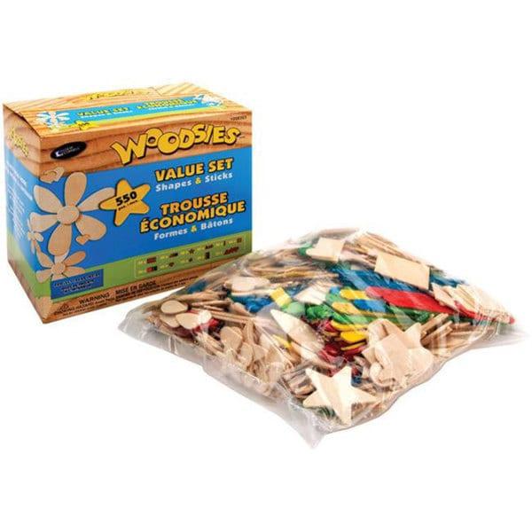Woodsies Shapes & Sticks 550-piece Value Set