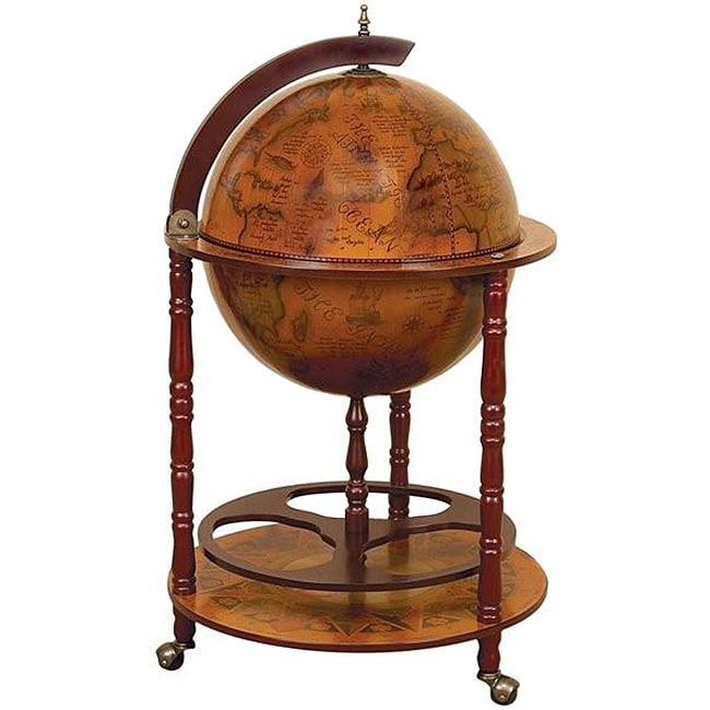 Wood 16th century style globe bar with wine rack holder for 16 inch floor old world bar globe cart
