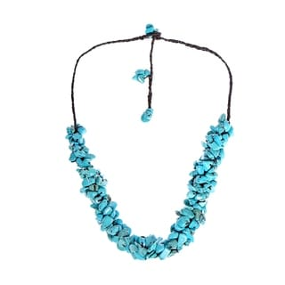 Cotton Clustered Reconstructed Turquoise Knotted Necklace (Thailand)