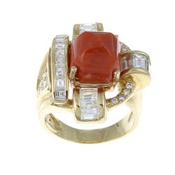 18k Yellow Gold Coral and 2 1/2ct TDW Diamond Art Deco Estate Ring (H-I, SI1-SI2)
