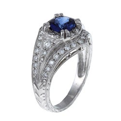 Platinum Estate 1/2ct TDW Diamond and Sapphire Ring (I-J, SI1-SI2)
