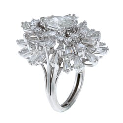 Platinum 8 1/2ct TDW Diamond Estate Ballerina Ring (H-I, SI3)