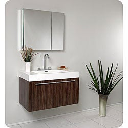Fresca Vista Walnut Bathroom Vanity and Medicine Cabinet