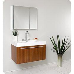 Fresca Vista Teak Bathroom Vanity and Medicine Cabinet
