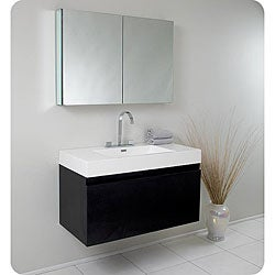 Fresca Mezzo Black Bathroom Vanity with Medicine Cabinet