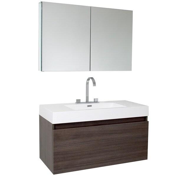 Fresca Mezzo Gray Oak Bathroom Vanity with Medicine Cabinet