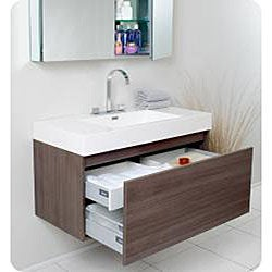 Fresca Mezzo Gray Oak Bathroom Vanity with Medicine Cabinet
