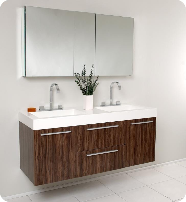 opulento walnut double sink bathroom vanity with medicine cabinet