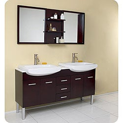 Fresca Vetta Espresso Double-sink Bathroom Vanity with Mirror