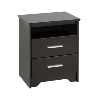 Yaletown 2-drawer Tall Black Night Stand