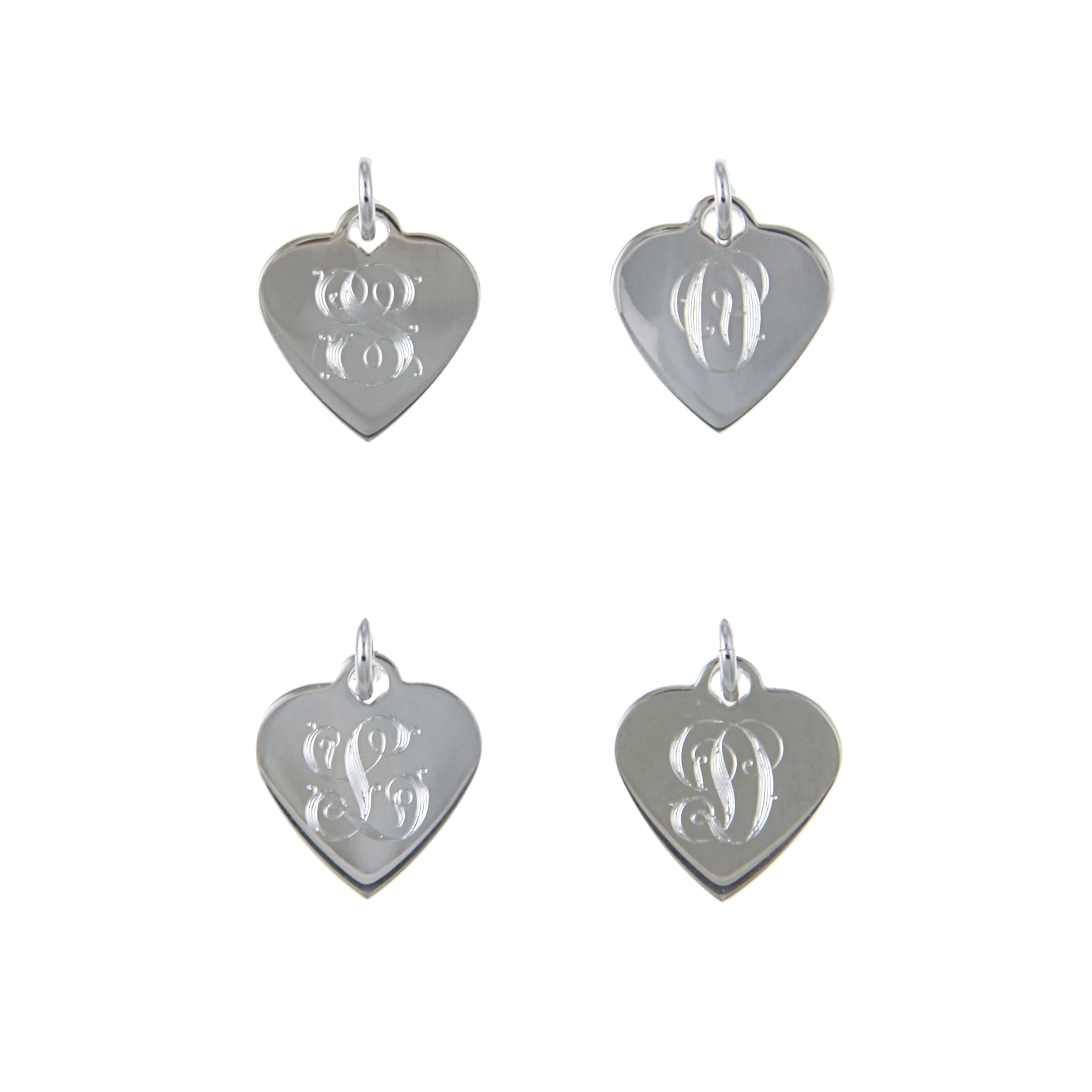 Sterling Essentials Sterling Silver 18-inch Vintage Script Alphabet Heart Necklace