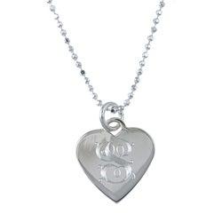 Sterling Essentials Sterling Silver 18-inch Vintage Script Alphabet Heart Necklace