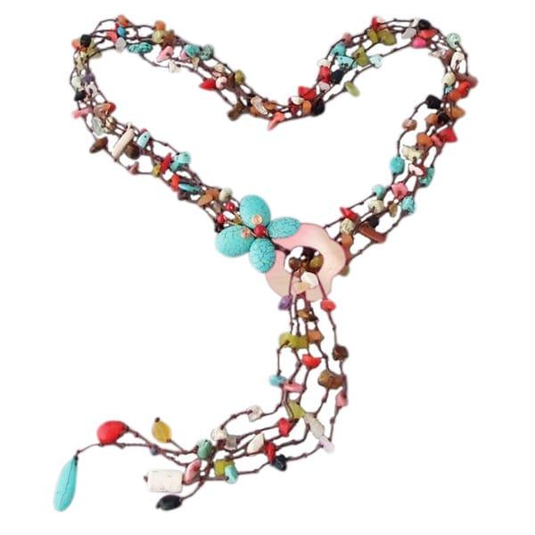Cotton Butterfly on Flower Gemstones Lariat Wrap Necklace (Thailand)