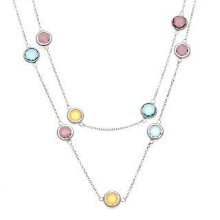 La Preciosa Sterling Silver Multi-colored Glass Necklace