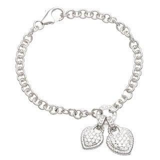 La Preciosa Sterling Silver Cubic Zirconia Heart Bracelet