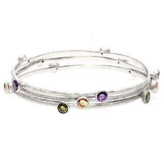 La Preciosa Silver Multi-colored Cubic Zirconia 3-piece Bangle Set