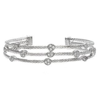 La Preciosa Sterling Silver Cubic Zirconia Triple Strand Bangle